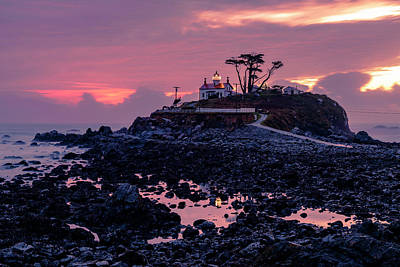 Sunset And Low Tide At Battery Point Art Print