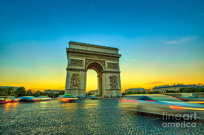 Photograph - sunset Arc de Triomphe by Benny Marty