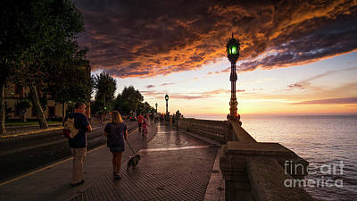 Photograph - Sunset At Alameda Apodaca Promenade Cadiz Spain by Pablo Avanzini