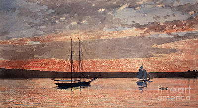 Painting - Sunset At Gloucester, 1880 by Winslow Homer