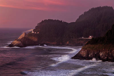 Photograph - Sunset At Heceta Head Lighthouse by James Eddy