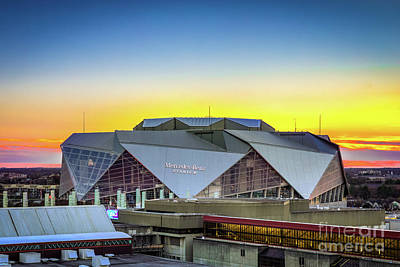 Photograph - Sunset At Mercedes Benz Stadium Atlanta Ga by Sanjeev Singhal