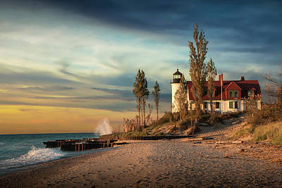 Photograph - Sunset At Point Betsie Lighthouse On Lake Michigan by Randall Nyhof
