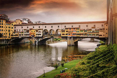 Design Turnpike Vintage Maps - Sunset at Ponte Vecchio Florence Italy  by Carol Japp