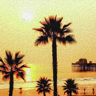 Digital Art - Sunset At The Beach In Oceanside California by Kenneth Montgomery