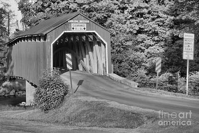 Photograph - Sunset At The Enslow Covered Bridge Black And White by Adam Jewell