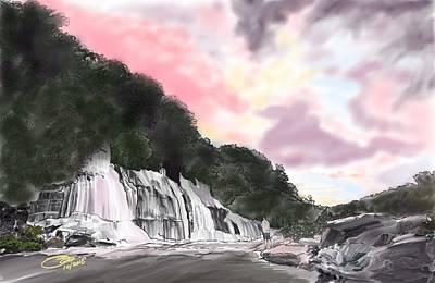 Digital Art - Sunset At The Falls by Joel Deutsch