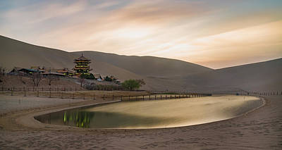 Photograph - Sunset At Yueyaquan Lake Dunhuang Gansu China by Adam Rainoff