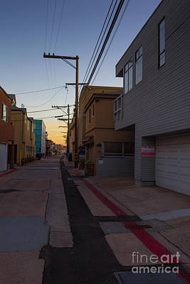Photograph - Sunset Back Alley Mission Beach San Diego California by Edward Fielding