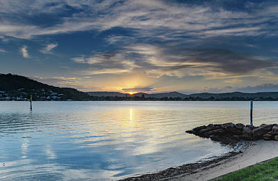 Photograph - Sunset Bay Waterscape With High Clouds by Merrillie Redden