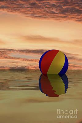 Digital Art - Sunset Beach Ball by Clayton Bastiani