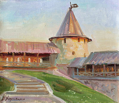Painting - Sunset Beam On The Walls Of The Kazan Kremlin by Victoria Kharchenko