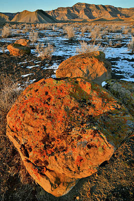 Photograph - Sunset Book Cliff Boulders by Ray Mathis