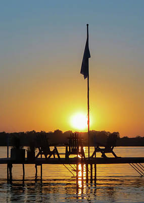 Photograph - Sunset Dock Flag Silhouette by Patti Deters