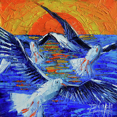 Sunset Fly Palette Knife Impasto Abstract Oil Painting Mona Edulesco Original