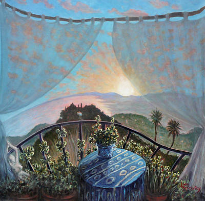 Painting - Sunset From Seborga by Linda Mccluskey