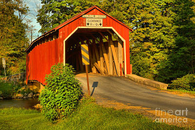 Photograph - Sunset Glow On The Enslow Covered Bridge by Adam Jewell