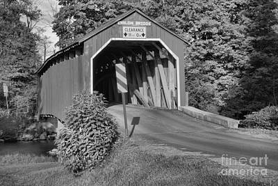 Photograph - Sunset Glow On The Enslow Covered Bridge Black And White by Adam Jewell