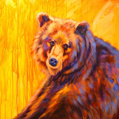 Wall Art - Painting - Sunset Grizzly by Theresa Paden