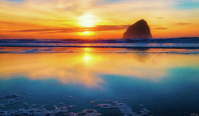 Photograph - Sunset Haystack Rock by Dee Browning