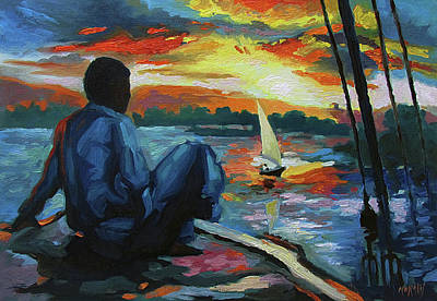 Painting - Sunset in Aswan, Egypt by Ben Morales-Correa