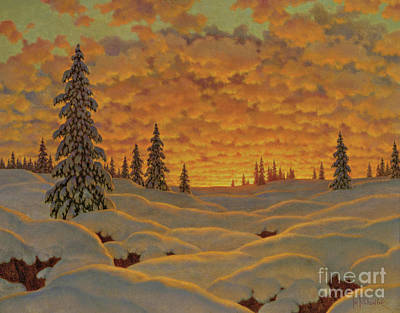 Painting - Sunset In Finland  by Ivan Fedorovich Choultse