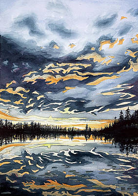 Drawing - Sunset In Finland by Sami Matilainen