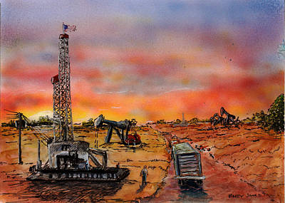 Painting - Sunset In Oil Country by Barry Jones