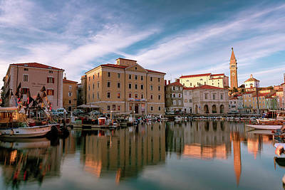 Photograph - Sunset in Piran by Elias Pentikis