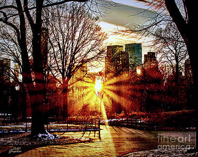 Digital Art - Sunset In The Park by CAC Graphics