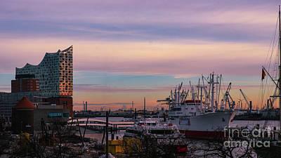 Photograph - Sunset In The Port Of  Hamburg by Marina Usmanskaya
