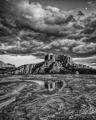 Photograph - Sunset Light On Cathedral Rock, B And W by William Christiansen