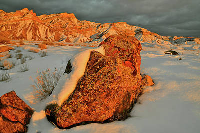Photograph - Sunset Lit Boulder In Snow Covered Book Cliffs by Ray Mathis