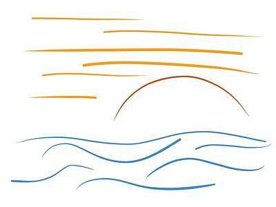 Fantasy Drawings - Sunset - Minimal line drawing by Marianna Mills