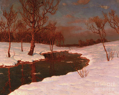 Painting - Sunset On A Snowy River Landscape by Ivan Fedorovich Choultse