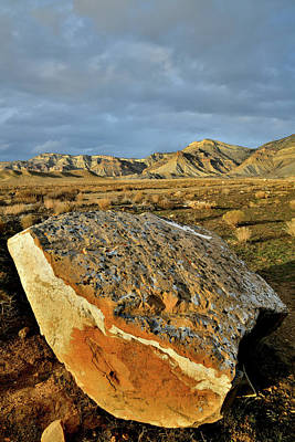 Photograph - Sunset On Book Cliff Boulder by Ray Mathis