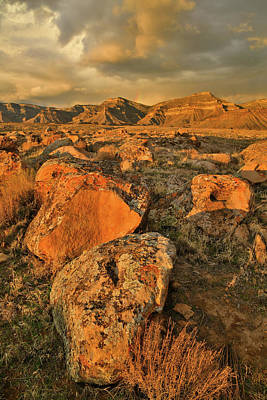 Photograph - Sunset On Book Cliffs And Boulders by Ray Mathis