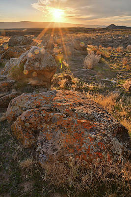 Photograph - Sunset On Colorful Boulders Of Book Cliffs by Ray Mathis