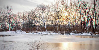 Ira Marcus Royalty-Free and Rights-Managed Images - Sunset on Frozen Pond by Ira Marcus