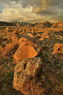 Photograph - Sunset On Lichen Covered Boulders And Book Cliffs by Ray Mathis