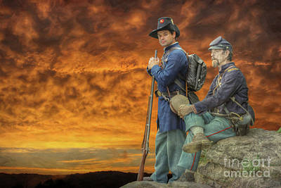 Digital Art - Sunset On Little Round Top by Randy Steele