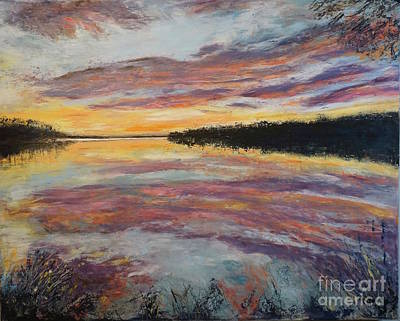 Painting Royalty Free Images - Sunset on Potomac  Royalty-Free Image by Patty Donoghue