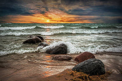 Photograph - Sunset On Sturgeon Bay In Lake Michigan by Randall Nyhof