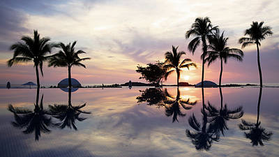 Photograph - Sunset Over A Tropical Infinity Pool by Beklaus