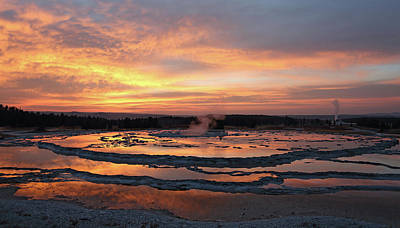 Photograph - Sunset Over Great Fountain Geyser by Jean Clark