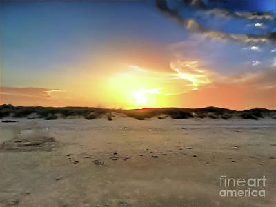 Sunset Over N Padre Island Beach Art Print