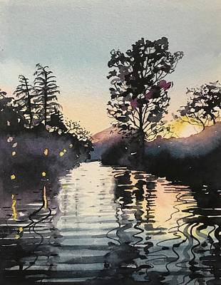 Water Droplets Sharon Johnstone - Sunset over Rabbit Island at Malibou Lake by Luisa Millicent