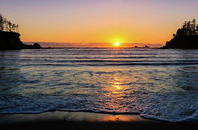 Photograph - Sunset Over Sunset Bay, Oregon 1 by Dawn Richards