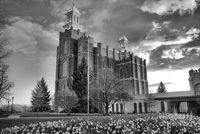 Photograph - Sunset Over The Logan Temple Black And White by Adam Jewell