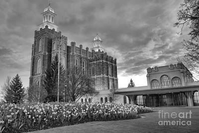 Photograph - Sunset Over The Logan Temple Grounds Black And White by Adam Jewell